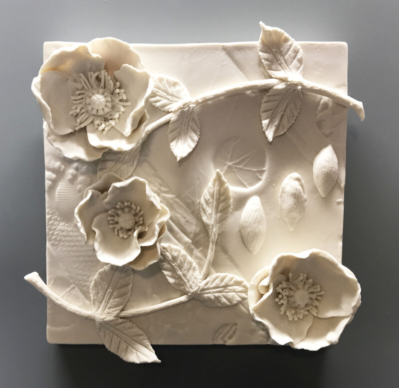 """""""Poppies"""" Tile, Cone 5 porcelain, 8"""" square"""