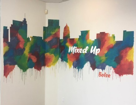 Mixed-Up Mural, acrylic on wall, 14'x5'