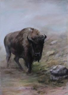 """""""Bison in the Mist"""", Pastel, 8.5"""" X 11"""""""
