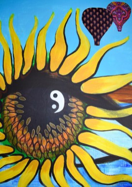 Sunflowers in her eyes, mixed media on canvas