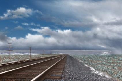 """Overland Route"", Acrylic / digital, 36 x 24"