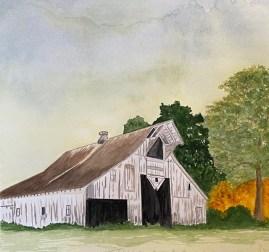 Old Calf Barn, watercolor, Gina Brostmeyer