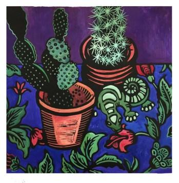 Cactus with Gecko, hand-printed, hand-colored linocut, Laurel Macdonald