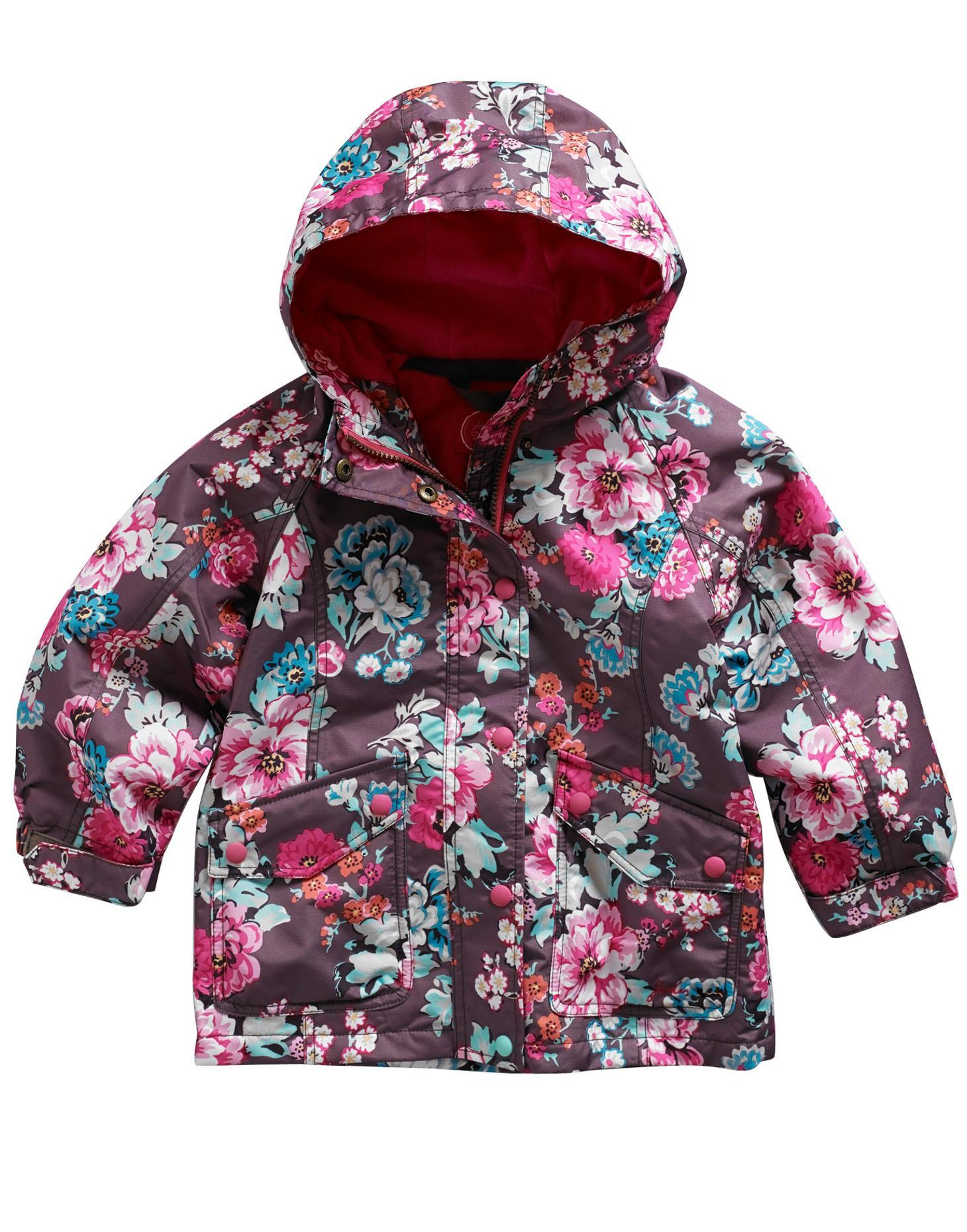 100% genuine preview of biggest discount Joules girls raincoat by Kirstie Praline in Floral | Fleece Lined | 3 years