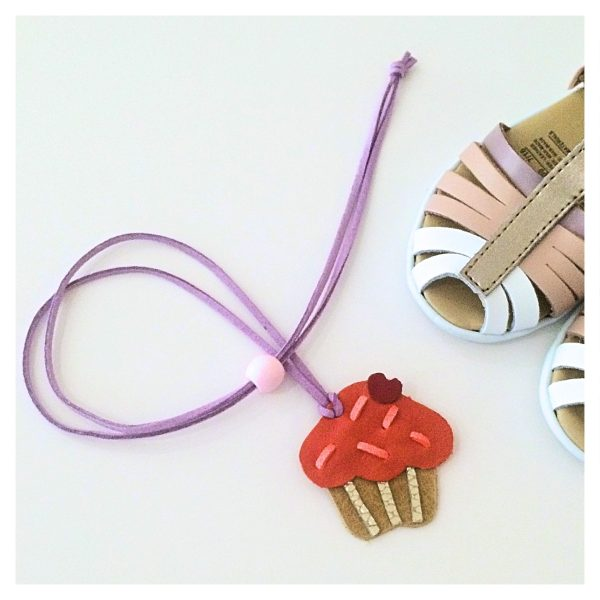 Cupcake kids leather necklace