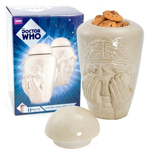 Put your Whovian cookies in this Doctor Who Weeping Angel Cookie Jar -- the scariest cookie jar ever made!