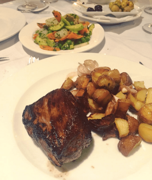 Steak and potatoes at Accord Majeur.