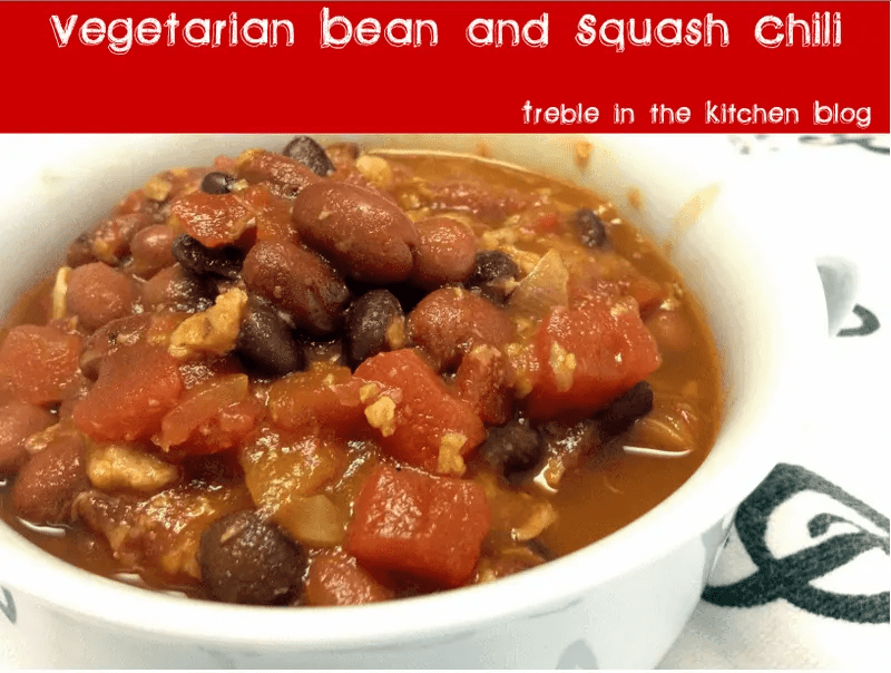 Vegetarian Bean and Squash Chili via Treble in the Kitchen