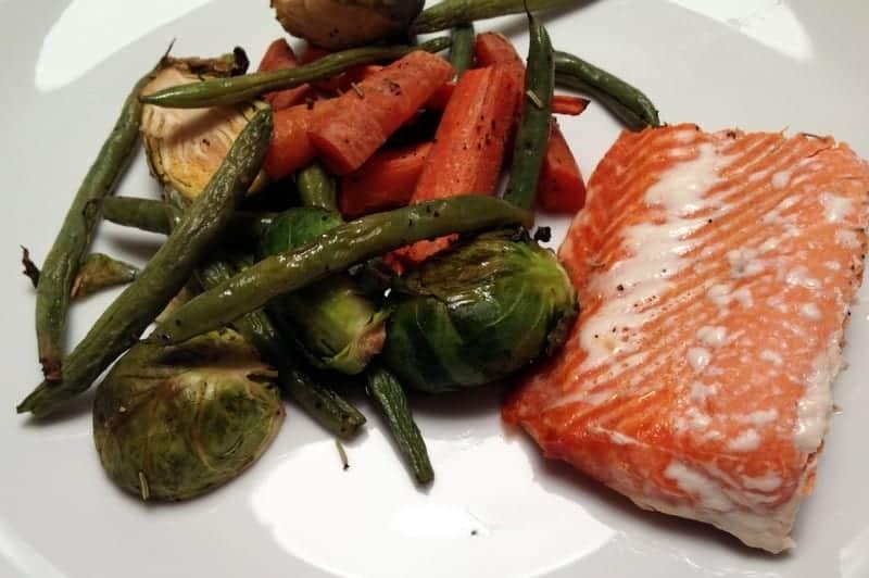 roasted veggies and salmon