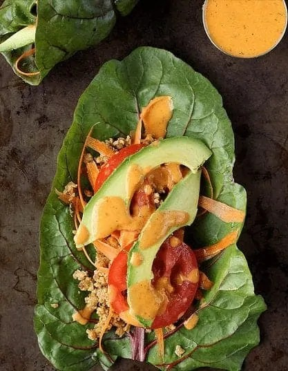 swiss chard wraps with raw walnut meat