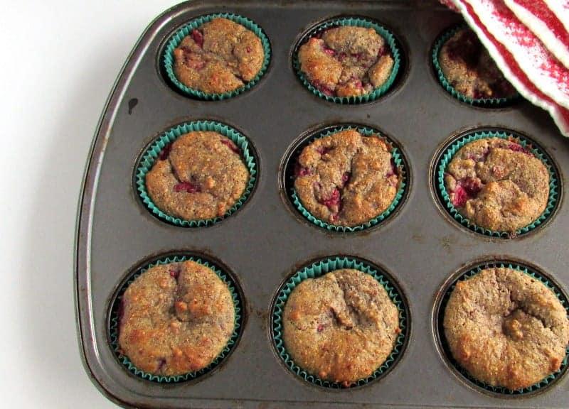Raspberry Orange High Fiber Muffins via Treble in the Kitchen