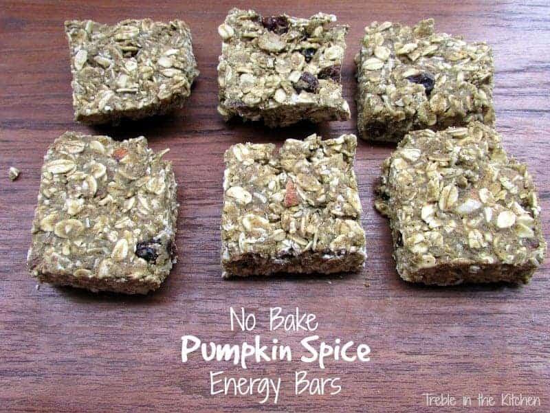 Vega No Bake Pumpkin Spice Energy Bars via Treble in the Kitchen