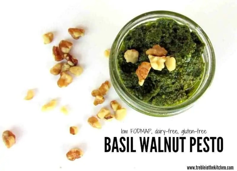 Basil Walnut Pesto low FODMAP via Treble in the Kitchen