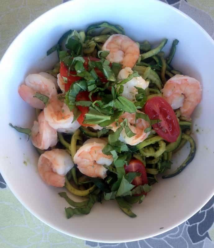 Pesto Zucchini Noodles with Shrimp | Treble in the Kitchen