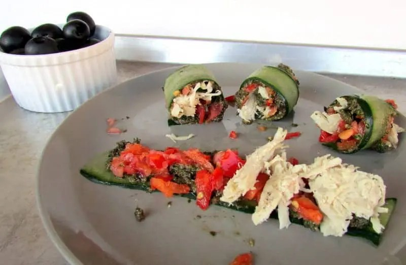 Cucumber Olive-Pesto Roll Ups from Treble in the Kitchen