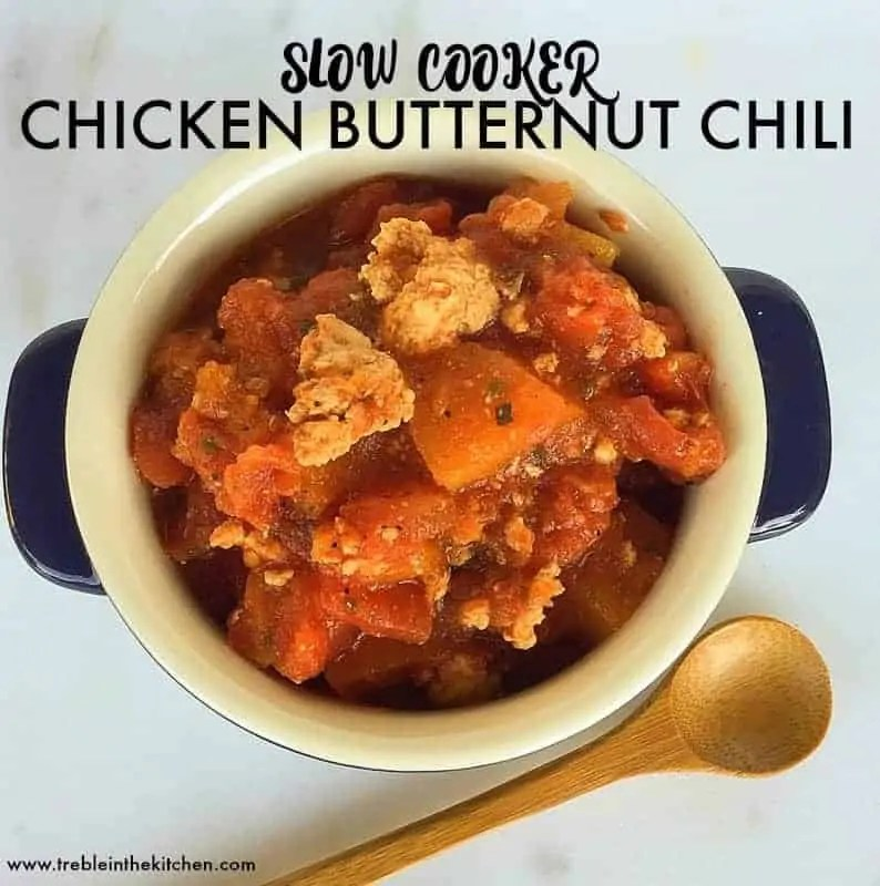 Slow Cooker Chicken Butternut Chili from Treble in the Kitchen