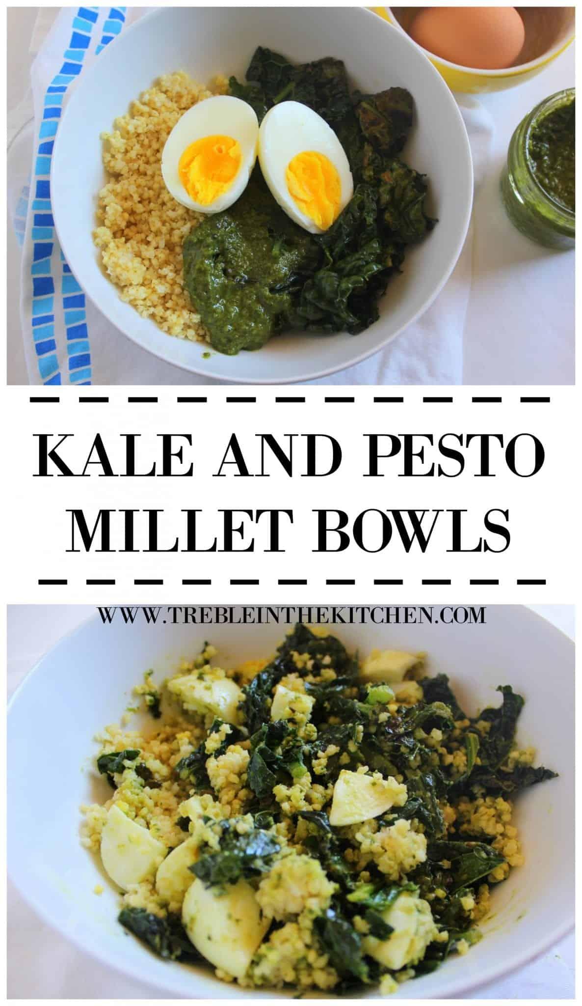 kale and pesto millet bowls via treble in the kitchen