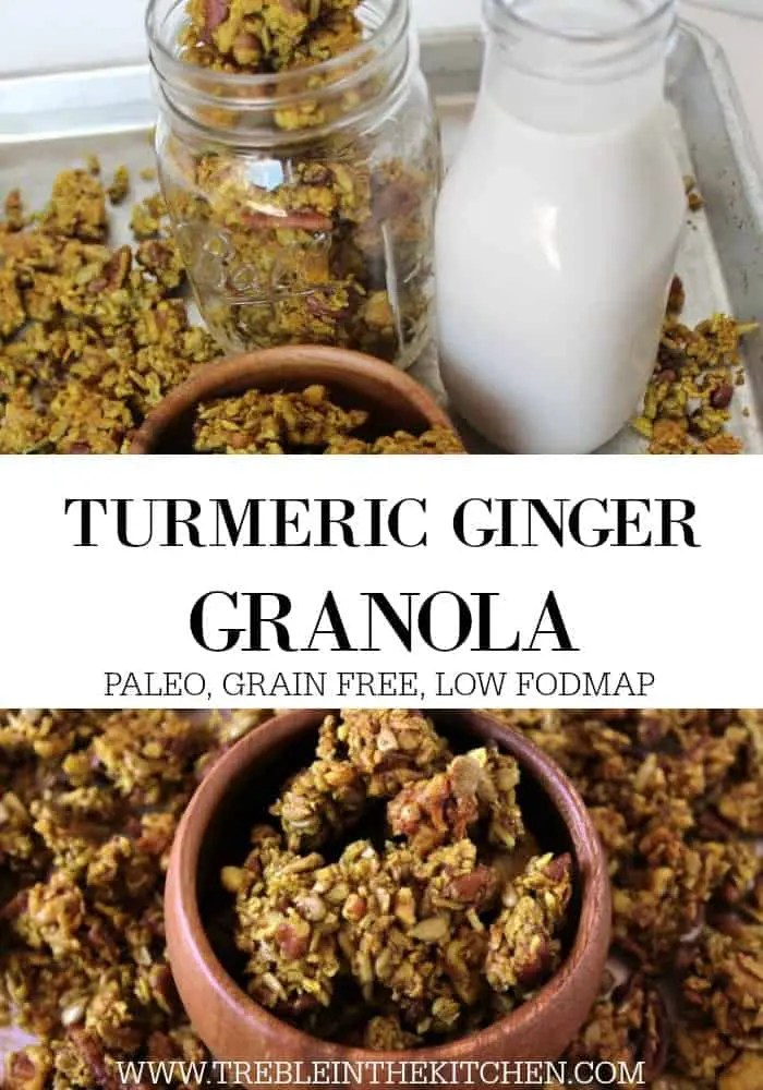 Turmeric Ginger Granola from Treble in the Kitchen low FODMAP, paleo, gluten free