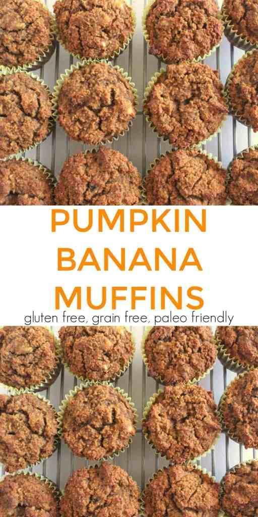 Pumpkin Banana Muffins gluten free, grain free, paleo friendly