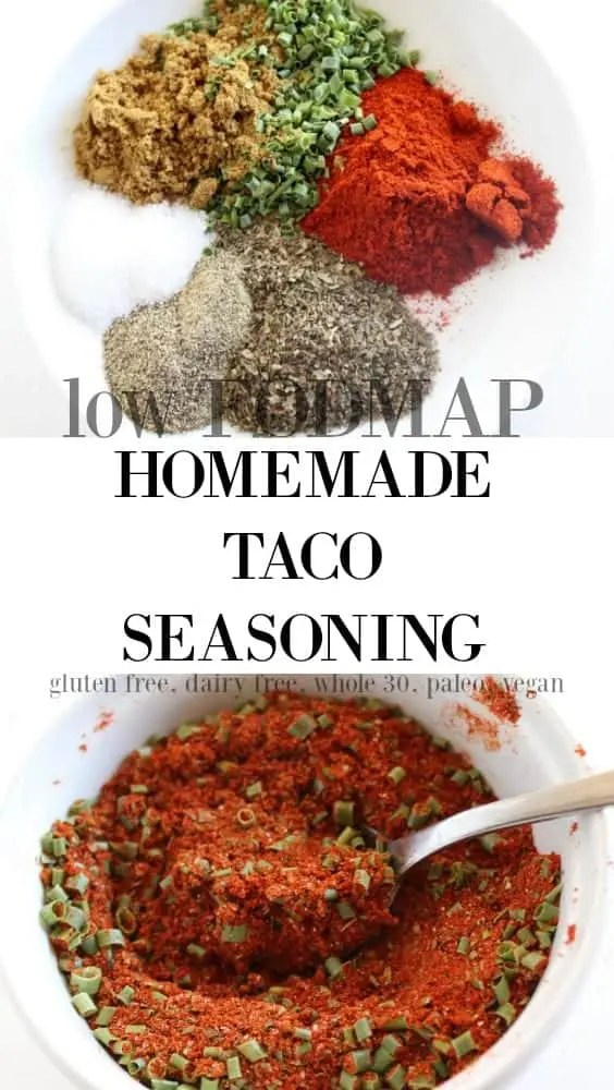 low FODMAP Homemade Taco Seasoning gluten free, whole 30, vegan, paleo