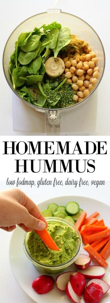 Homemade Hummus low FODMAP, gluten free, dairy free, vegan