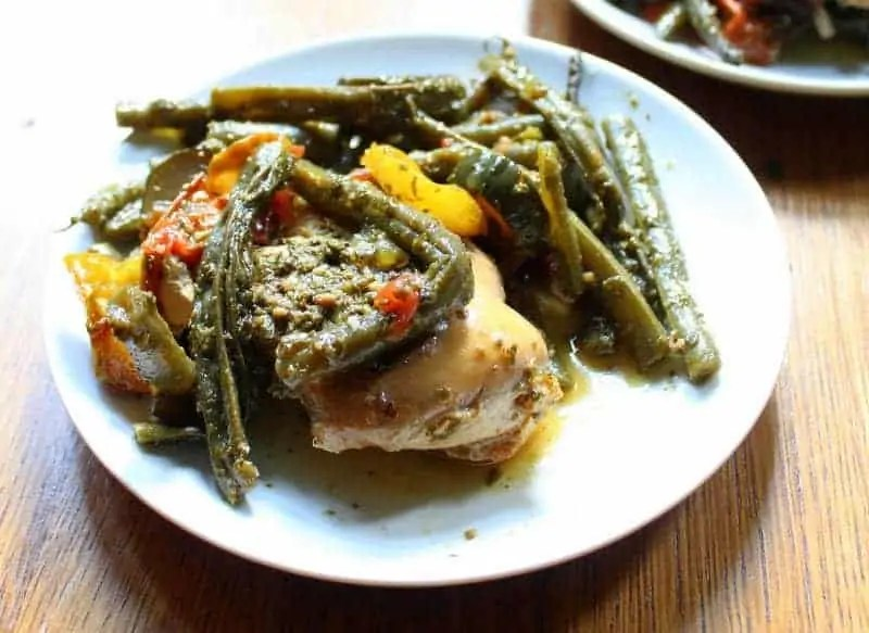 Slow Cooker Pesto Chicken - low FODMAP, dairy free, grain free, paleo, whole 30