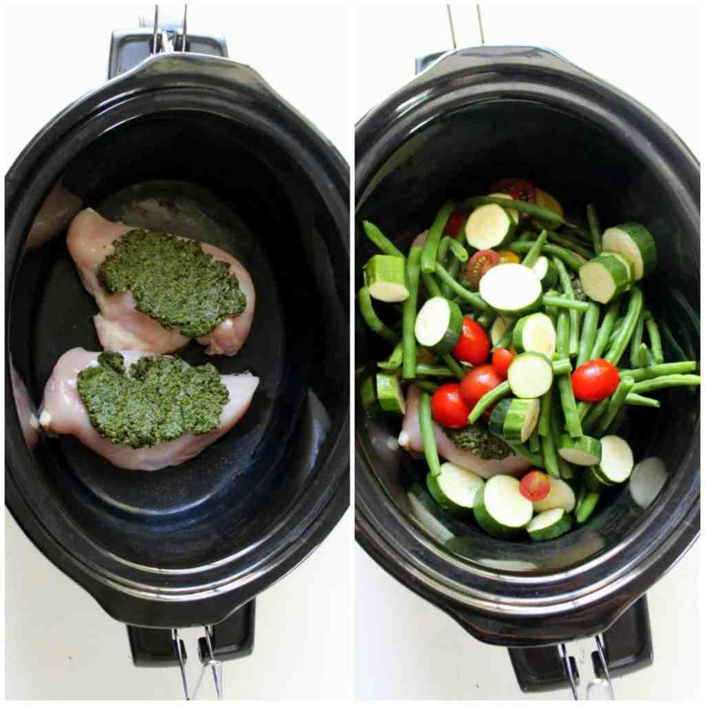 Slow Cooker Pesto Chicken - low FODMAP, dairy free, grain free, paleo, whole 30