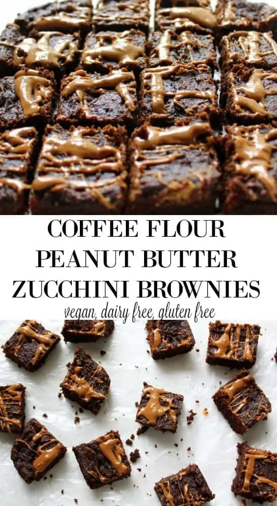 Coffee Flour Peanut Butter Zucchini Brownies - vegan, dairy free, low fodmap
