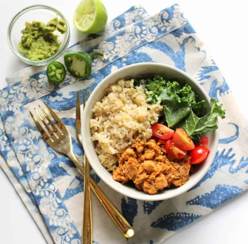 low FODMAP Chickpea Burrito Bowl - gluten free, grain free, dairy free, vegan, vegetarian