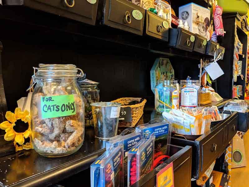 Cat food and treats center at Tré Bone