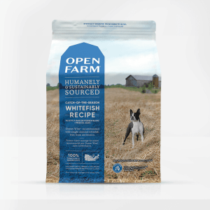 Open Farm Whitefish Dog Front of Bag