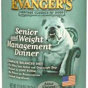 Evanger's Senior food front of can