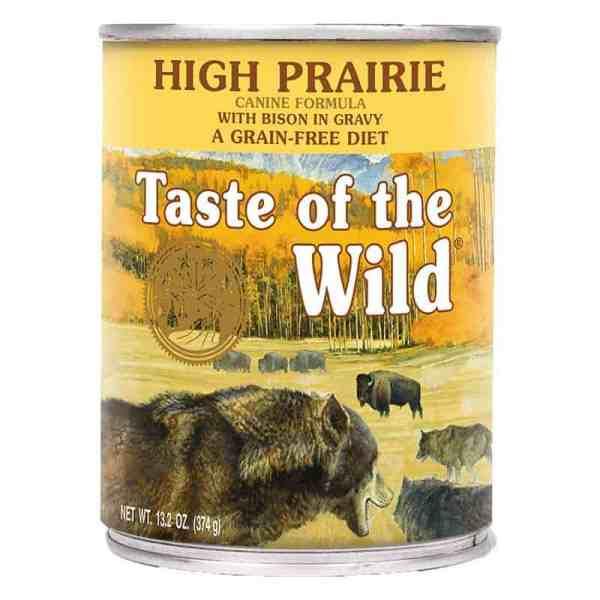 Taste of the Wild high prairie canned dog food