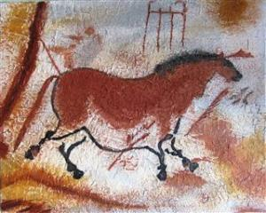 Second Chinese Horse #1 - Second cheval chinois #1 - Grotte Lascaux - 18 in x 24 in x 1.0 in - 46 cm x 61 cm x 2.5 cm