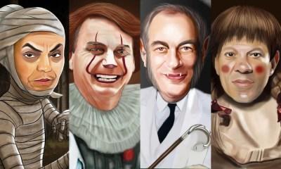 Presidenciáveis surgem como vilões dos filmes de terror em ilustrações
