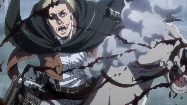 Erwin sendo ferido em Attack on Titan