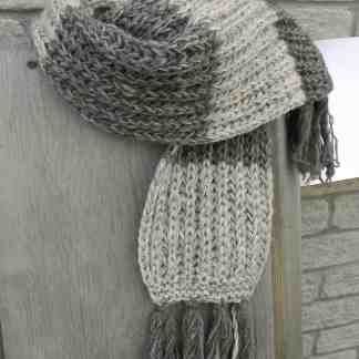 47c49c1d4c221 100% Wool Grey Striped Scarf Fair Trade Nepal