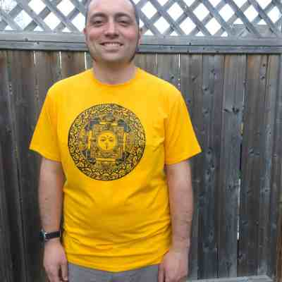 Fair Trade Mens T-Shirt Mandala Yellow