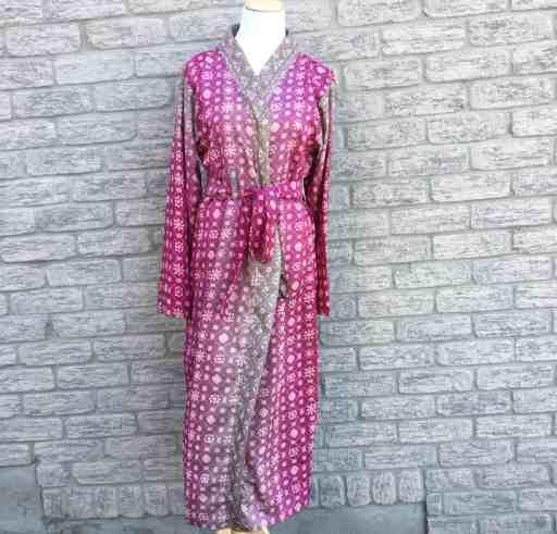 Fair Trade Sari Silk Robe