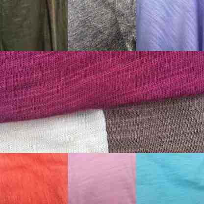 Bamboo organic cotton slub jersey fabric colours