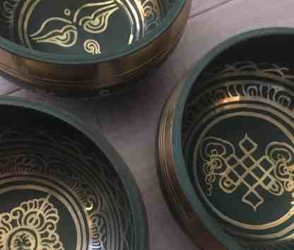 Green Blue Tibetan singing bowl