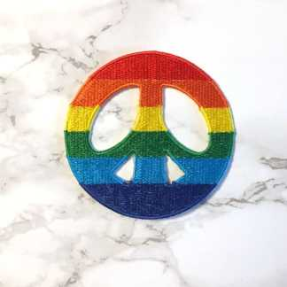 Embroidered Rainbow Peace Patch Fair Trade 3-4inches