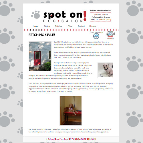 Dog Salon Website