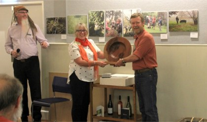 Andrew Fenemor receives Dick Roberts photo competition trophy
