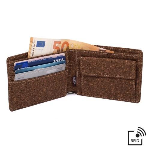Korgipuust rahakott RFID blokeeringuga