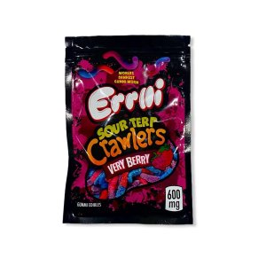 ERRLLI VERY BERRY SOUR TERP CRAWLERS 600MG CANNABIS INFUSED WORLDS DANKEST GUMMIE WORM
