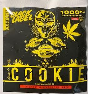 BLACK LABEL CONFETTI 1,000 MG THC AREA 51 COOKIE CAUTION: VERY STRONG! NEW!