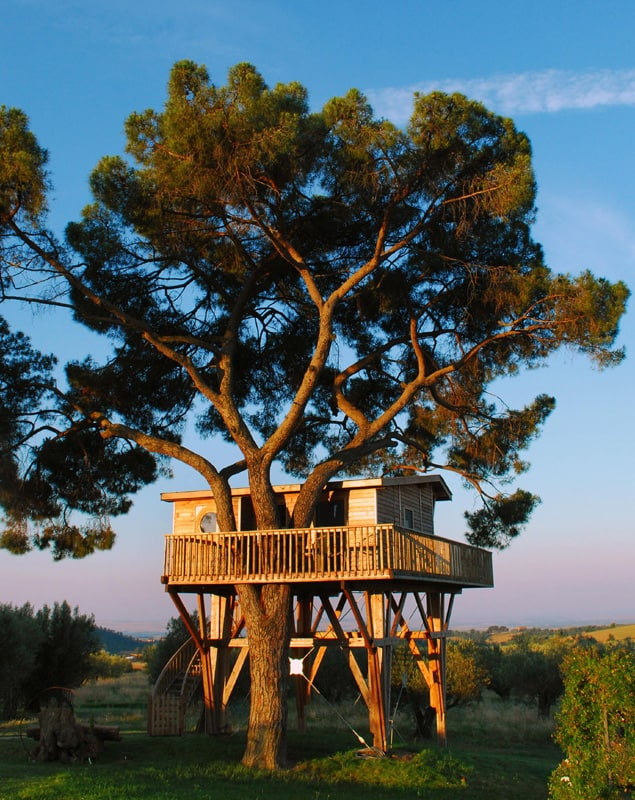 Tree House Hotel In Italy La Piantata Black Cabin