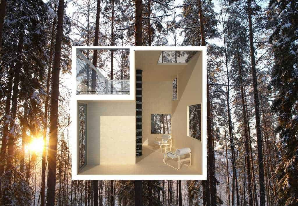 treehotel in sweden the mirrorcube treehouse map. Black Bedroom Furniture Sets. Home Design Ideas