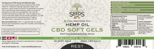 25mg CBD SoftGel Melatonin + Chamomile Capsules Label